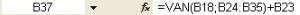 Calcul de la VAN sous Excel