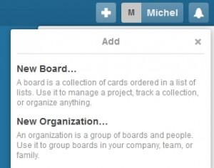 Menu pour créer un nouveau board